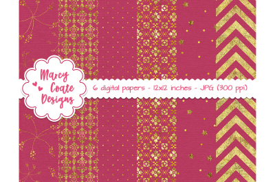 Hot Pink & Gold Digital Papers
