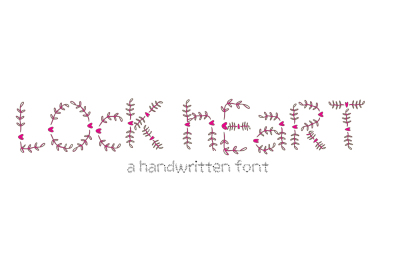 Lock Heart Typeface - Handmade heart and Floral Font