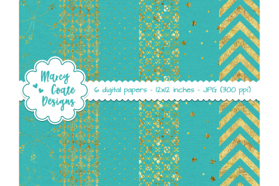 Turquoise & Gold Digital Papers