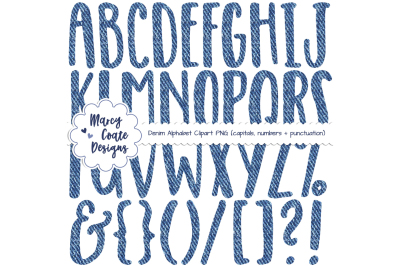 Blue Denim Alphabet Clipart
