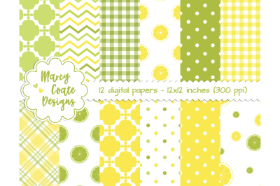 Lemon Lime Digital Papers