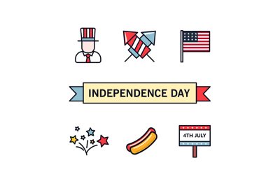4th July. Patriotic icons. Independence Day of America. Vector icons