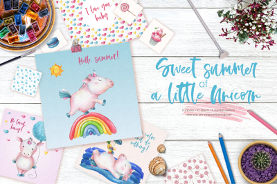 Sweet summer of a little unicorn - hand drawn set