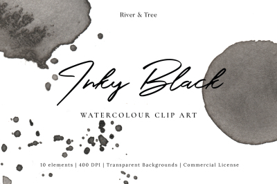 Inky Black: Watercolour Clip Art