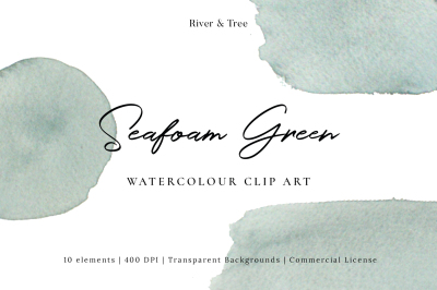Seafood Green: Watercolour Clip Art