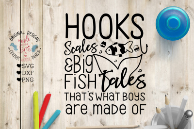 Hooks, Scales and Big Fish Tales Cut File  in SVG, DXF, PNG