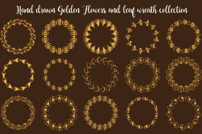 Hand drawn Golden Flowers and leaf wreath collection for text - set 1
