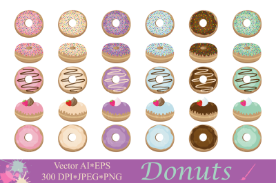 Donuts clipart / Dessert illustrations / Cute donut vector graphics