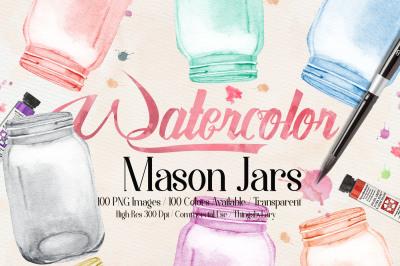 100 Watercolor Mason Jar Clip Arts