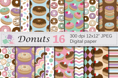 Donuts digital paper pack / Pastel chocolate donut backgrounds