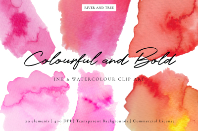 Beautiful and Bold: Ink and Watercolour Clip Art