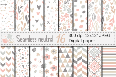 Seamless neutral patterns / Neutral geometric and floral digital paper