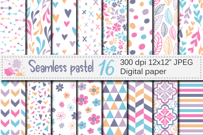 Seamless pastel patterns / Pastel geometric and floral digital paper