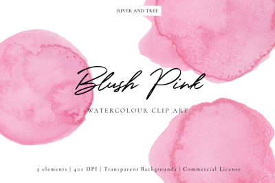 Blush Pink: Watercolour Clip Art