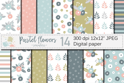 Pastel flowers seamless pattern, Peach blue green floral digital paper