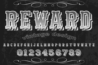 vintage handcrafted vector label design typeface alphabet reward