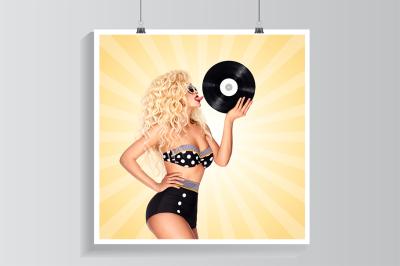 Bikini and vinyl.