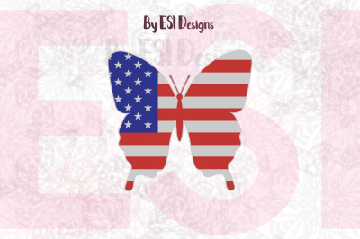 Butterfly USA Flag Design | SVG, DXF, EPS & PNG