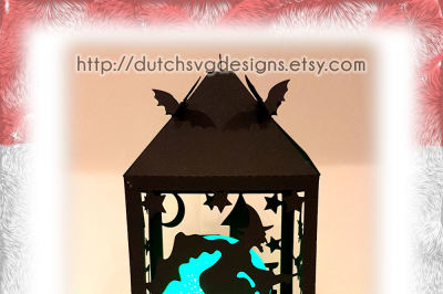 Halloween lantern cutting file with witch and closing bats, in Jpg Png Studio3 SVG EPS DXF for Cricut & Silhouette, broomstick lampion windlight ledlight