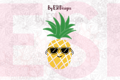 Cool Pineapple with Sunglasses Design | SVG, DXF, EPS & PNG