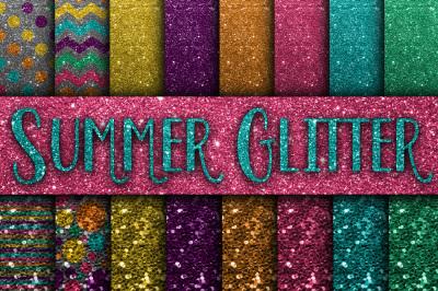 Summer Glitter Digital Paper Textures