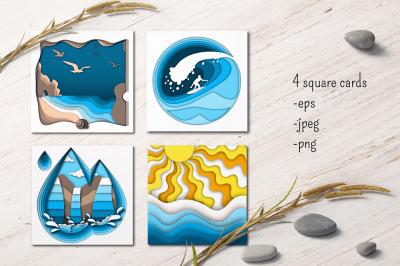 Sea Energy. Paper cut vector design.