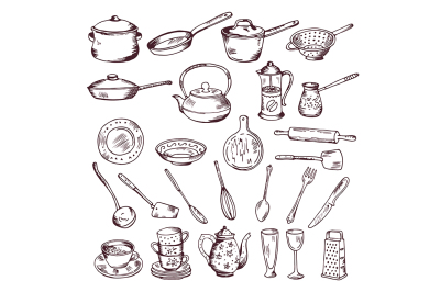 Hand drawn vector illustration of kitchen tools isolate