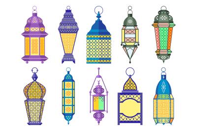 Ramadan old lamps and lanterns set of arabic style