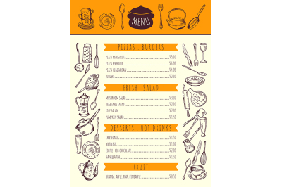 Restaurant food menu for lunch. Hand drawn pictures of kitchen tools.