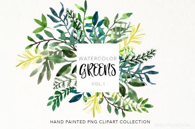 Watercolor Greens Clipart