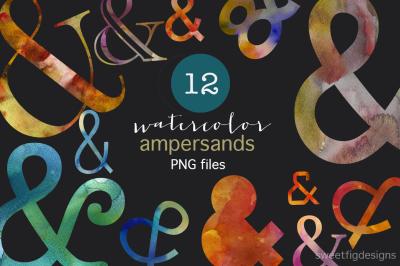 12 Watercolor PNG Ampersands