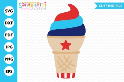 Patriotic Ice Cream Cone SVG, 4th of July SVG, Summer SVG, Ice Cream