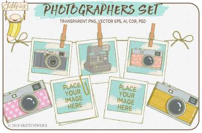 Hand Drawn Photographers Set