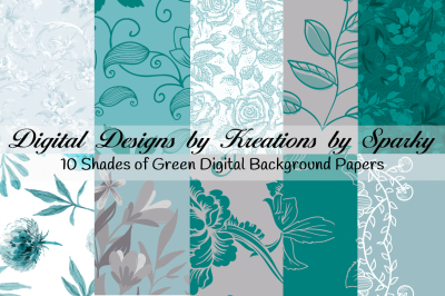Shades of Green Digital Background papers