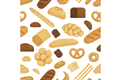 Bread and other bakery foods in funny cartoon style