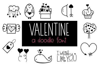 Valentine - A Valentine's Day/Love Doodle Font