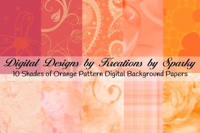 Shades of Orange Digital Background papers 2