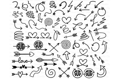 68 Arrows SVG doodles Bundle, Arrow Monogram SVG files