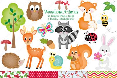 Woodland animals clipart,Woodland animal graphics & illustrations,Fall