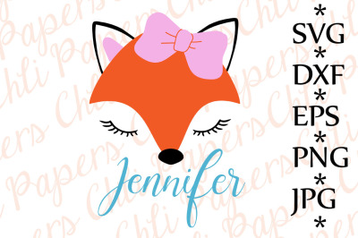 Fox Svg, CUTE FOX SVG, Fox with bow Svg,ox cut files,Fox face Svg