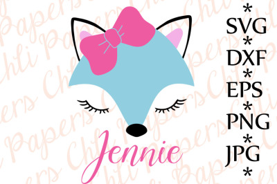 Fox Svg,CUTE FOX SVG, Fox with bow Svg,ox cut files,Fox face Svg