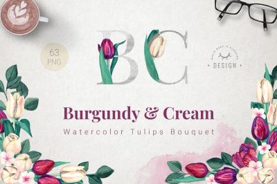 Burgundy and Cream Watercolor Tulips