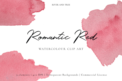 Romantic Red: Watercolour Clip Art
