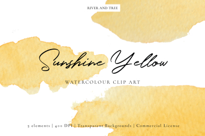 Sunshine Yellow: Watercolour Clip Art