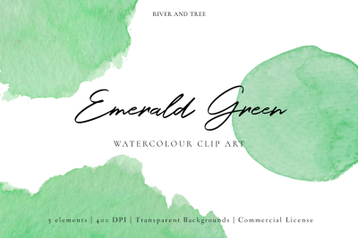 Emerald Green: Watercolour Clip Art