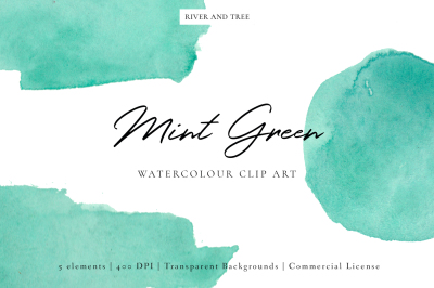 Mint Green: Watercolour Clip Art