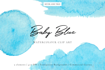 Baby Blue: Watercolour Clip Art