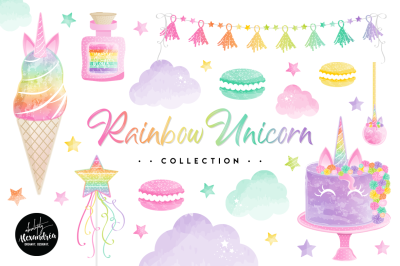 Rainbow Unicorn Clipart Graphics & Paper Patterns Bundle