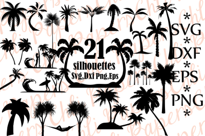 Palm Tree Silhouette,PALM TREE SVG, Palm Tree Clipart