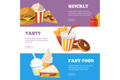 Three horizontal banners of fast food vector illustrations